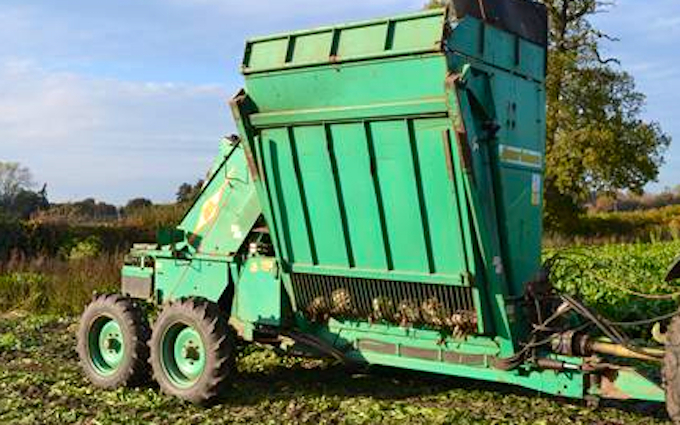 Clarke farming and contracting  with Beet harvester at Aymestrey