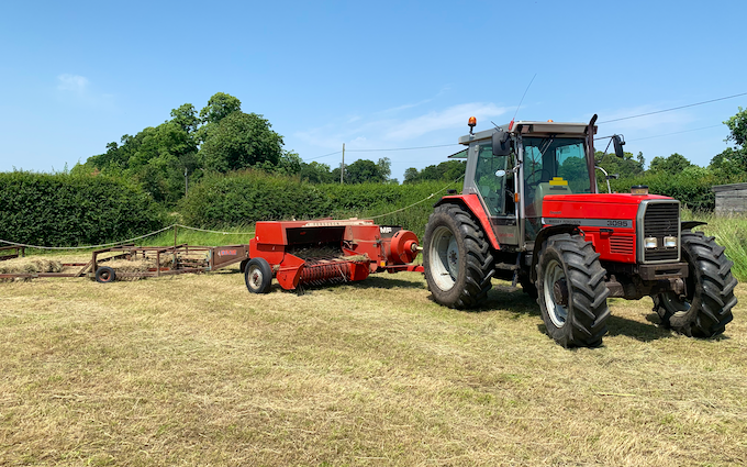 Jw agricultural services  with Small square baler at Vincent Way