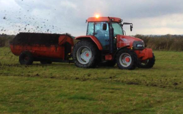 J walker  with Manure/waste spreader at United Kingdom