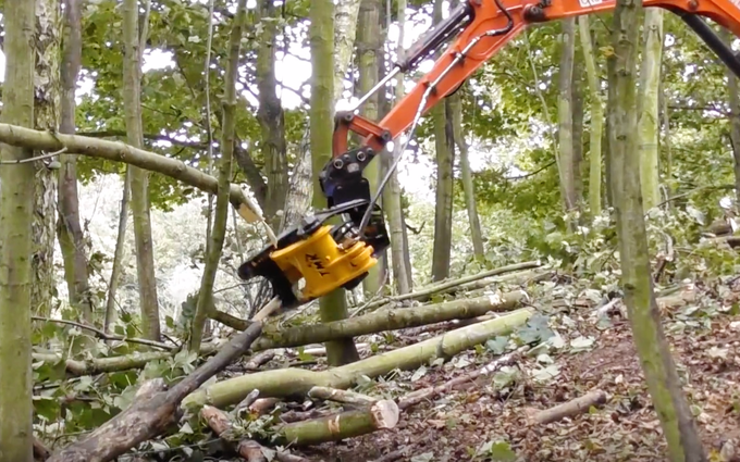 Cru contractors ltd with Forestry harvester at Hadleigh