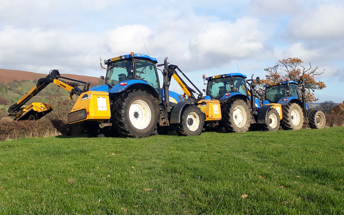 P.r, j.m & s.r houlston agricultural contractors with Hedge cutter at Glaisdale