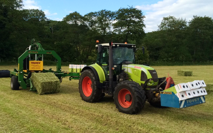 Tovey agri contracting  with Round baler at West Harptree