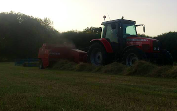 K.smith field services  with Small square baler at Finchampstead