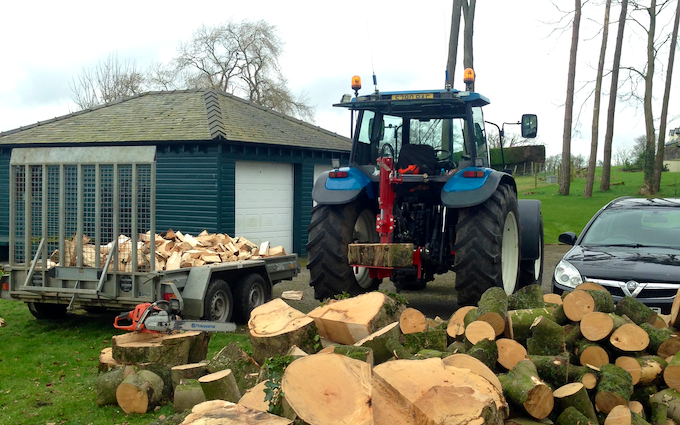 Tooke's agricultural services  with Log splitter at Bentham