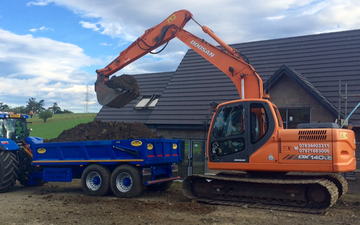Mains of allanbuie farmers & contractors with Excavator at United Kingdom