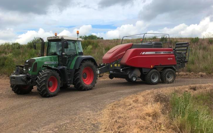 J p metcalfe with Large square baler at Rugeley