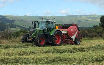 Rtb agri ltd with Round baler at Whakarongo