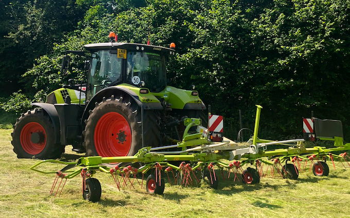 K m bray agri & plant contractor  with Tedder at Talgarth