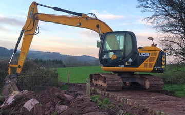 K m bray agri & plant contractor  with Excavator at Talgarth