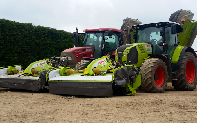 P.r, j.m & s.r houlston agricultural contractors with Mower at Glaisdale