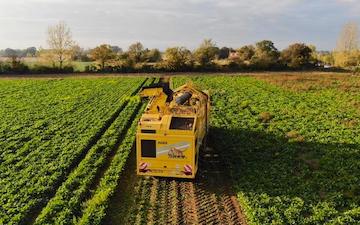 Spring farm partnership with Beet harvester at Taverham