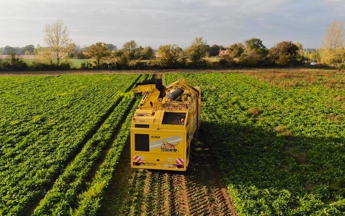 Spring farm partnership with Beet harvester at Taverham