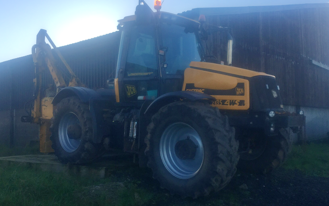 Stuart deans agriculture with Hedge cutter at Kilmaurs