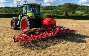 A j robinson grassland subsoiling with Tine harrow at Llanddewi Velfrey