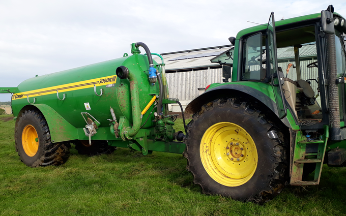 G.r.robinson farms ltd with Slurry spreader/injector at King's Norton