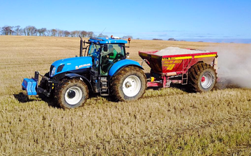 M & m bell contractors with Lime spreader at Memsie