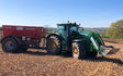 Ashley thomas agri services with Lime spreader at Chelmarsh