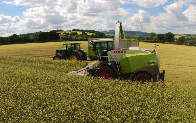 M g ricketts  with Forage harvester at Glasbury