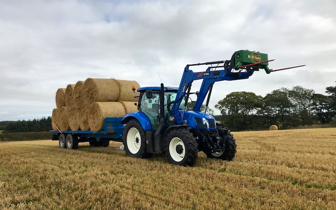 Dubby agri with Flat trailer at Newburgh