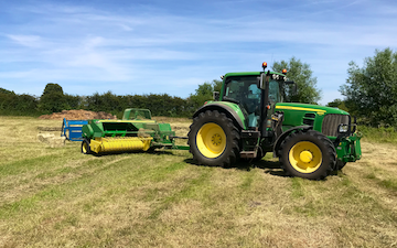 Aeh services with Small square baler at Cholsey