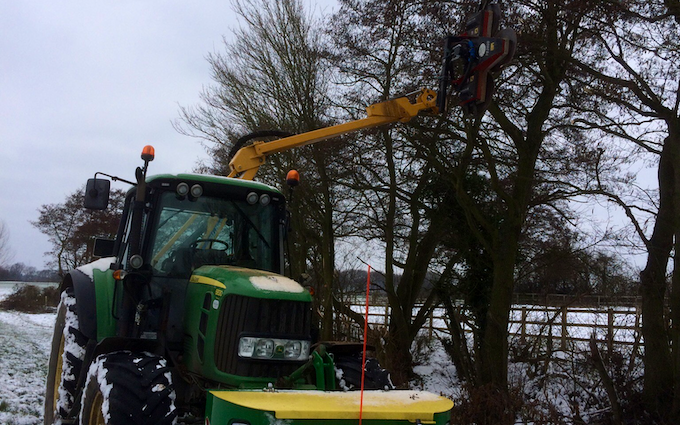 Bennett's contracting with Hedge cutter at Doddinghurst Road