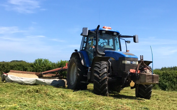 P j pengelly agricultural contracting  with Mower at Blackawton