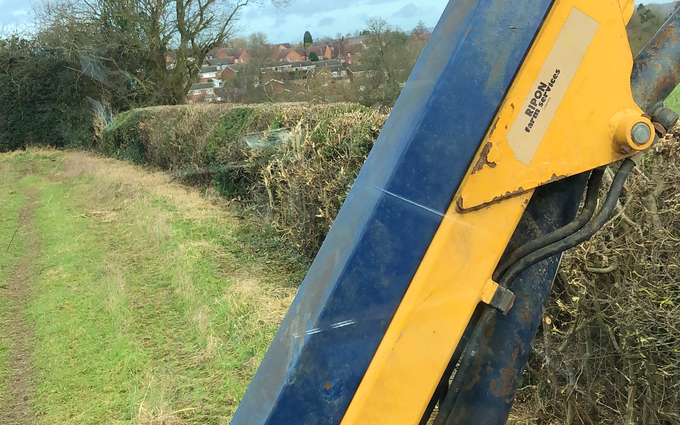 Nc agri services with Hedge cutter at Desford