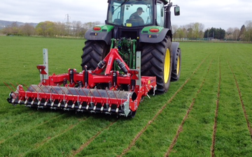 Brookshill farming with Meadow aerator at Culmstock