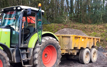 Bright's agri contracting with Tipping trailer at Barn Park