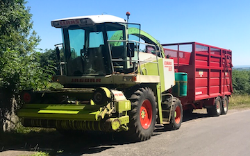 Scott walton contracting  with Forage harvester at United Kingdom
