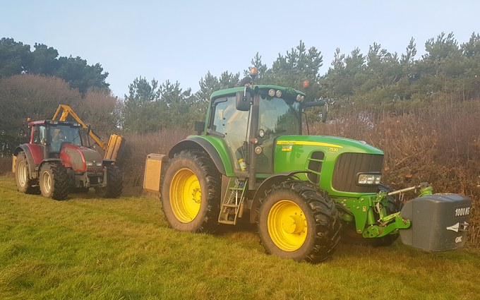 E.j & j.c.j brook agricultural contractors with Hedge cutter at Exeter
