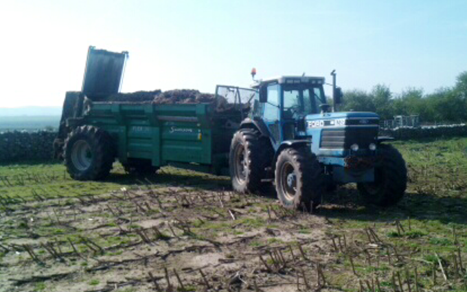 Peter singleton with Manure/waste spreader at Warton Road