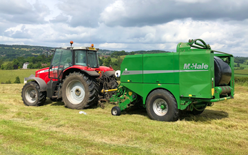 G j walker with Round baler at Highashes Lane