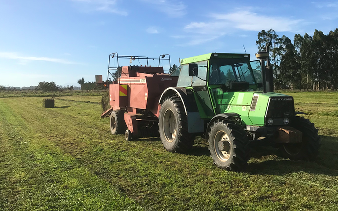 Drummond contracting ltd with Large square baler at Ashburton