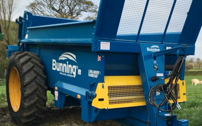 Rb agricultural services with Manure/waste spreader at Birch Vale