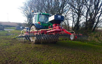 Dan hirst agricultural contractors  with Drill at United Kingdom