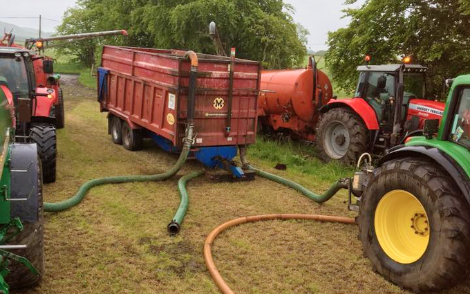 Hamilton contracting services with Slurry spreader/injector at Stonehouse