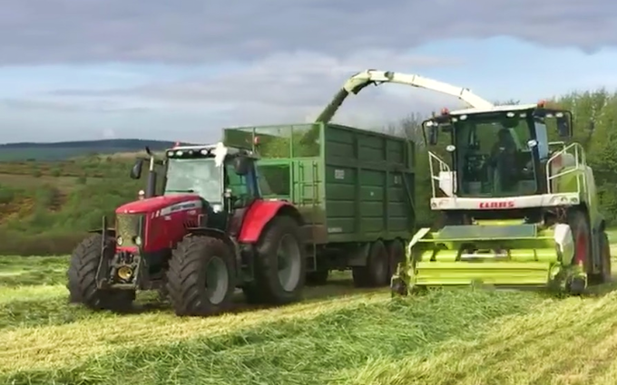 C g lucas & sons with Forage harvester at Cowbridge