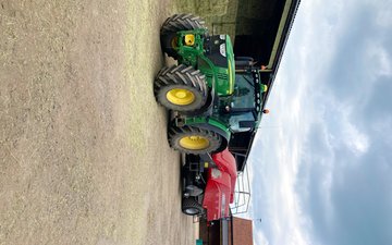 Oxfordshire's agricultural services with Large square baler at Boars Hill