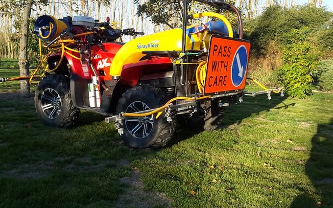 Aa performance services ltd (0272095026) with ATV sprayer at Elgin