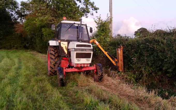 F. roberts agri services  with Hedge cutter at Framlingham