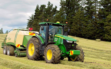 Waitohi ag ltd  with Large square baler at Masons Flat