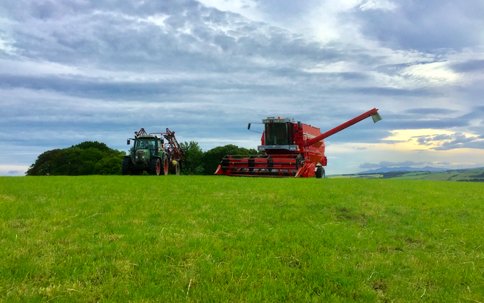 Euan r. drummond with Combine harvester at Dalry