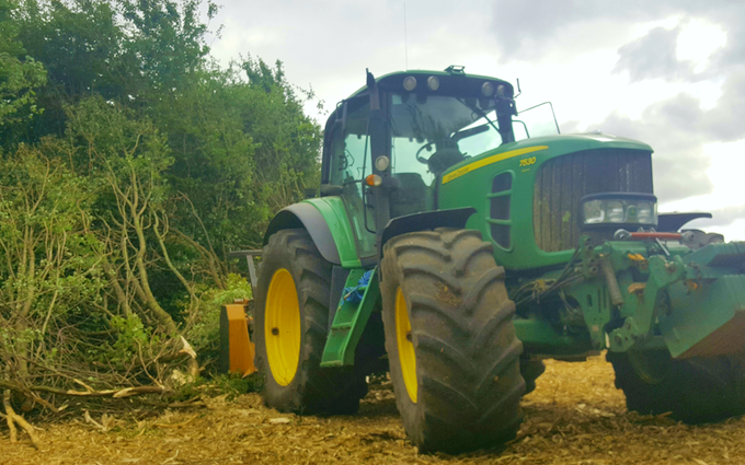 Andy smith agricultural contracting with Mulcher at Dinton