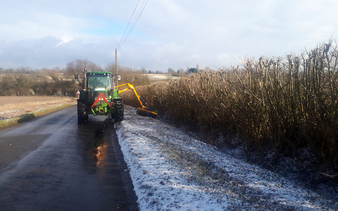 Chris stokes with Hedge cutter at Stansfield