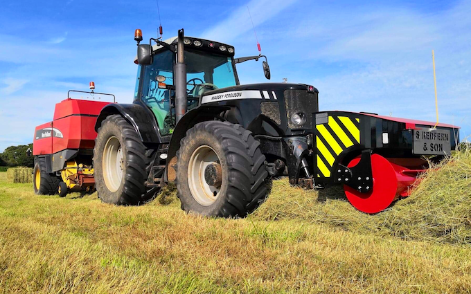 S.redfern & son with Large square baler at United Kingdom