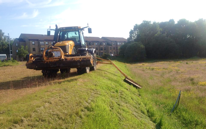 J. steel contracting  with Verge/flail Mower at Cauldhame Farm Road