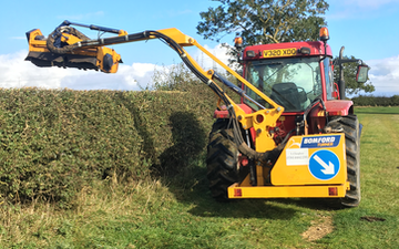 Liam claughan  with Hedge cutter at Hartlepool