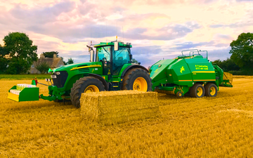 Hatts group with Large square baler at Rodmarton