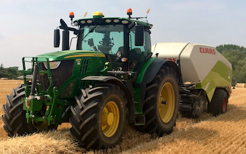 David marshall agricultural contractor with Large square baler at Albrighton